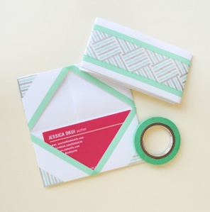 washi-tape-origami-business-card-holder
