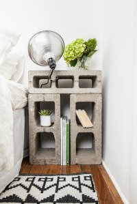 concrete block bed side table with clamp lamp
